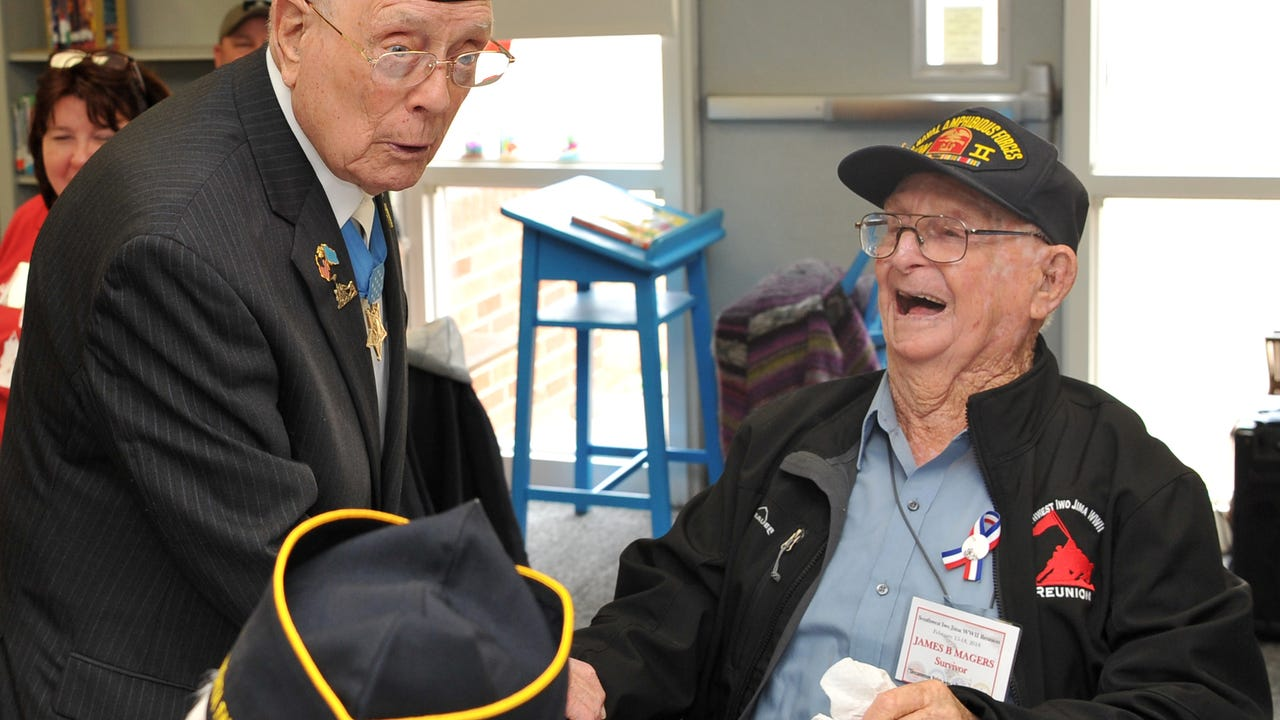 """Students at Sheppard Elementary honored Hershel Woodrow """"Woody"""" Williams and his fellow veteran Friday morning."""