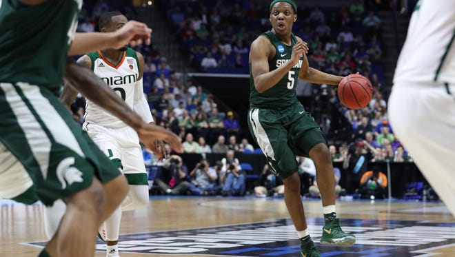 Michigan State freshman point guard Cassius Winston had seven points, five assists, one steal and no turnovers in 22 minutes against Miami Friday night. More importantly, he guarded ball screens as well as he has all season.