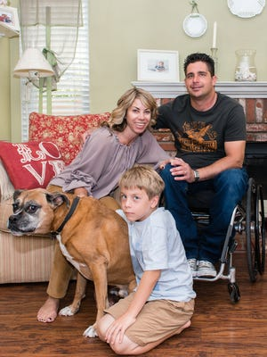 Anthony Orefice and his family in their home in Valencia, Calif.