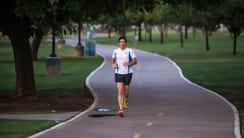 Mark Gershman runs in Chaparral Park in Scottsdale,