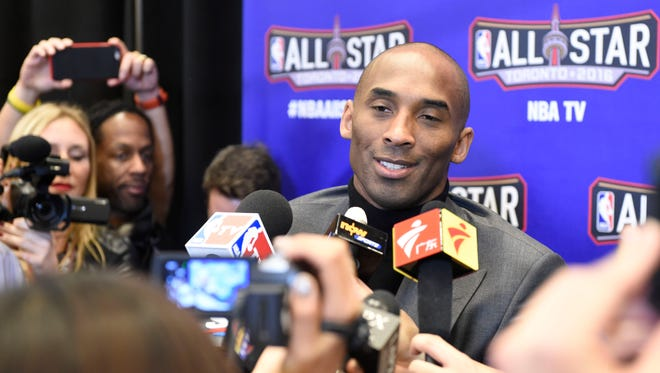Feb 12, 2016; Toronto, Ontario, Canada; Western Conference forward Kobe Bryant of the Los Angeles Lakers (24) is interviewed during media day for the 2016 NBA All Star Game at Sheraton Centre.