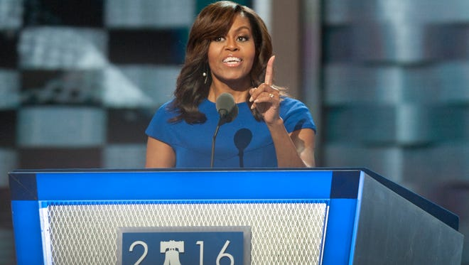 First Lady Michelle Obama speaks during the Democratic National Convention at the Wells Fargo Center in Philadelphia.