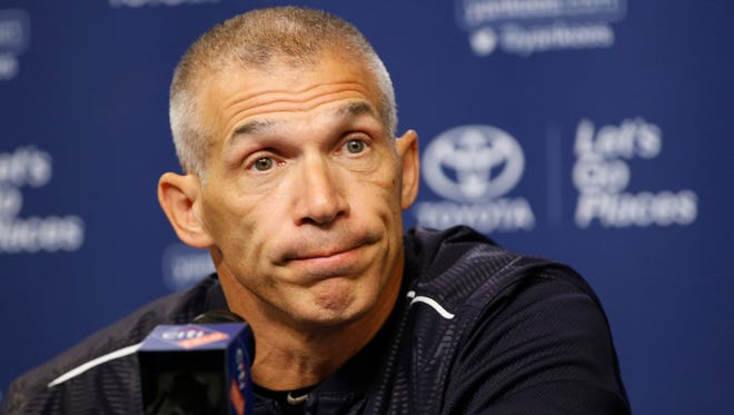 New York Yankees manager Joe Girardi pauses during a news conference before an interleague baseball game against the New York Mets, Monday, Aug. 1, 2016, in New York.