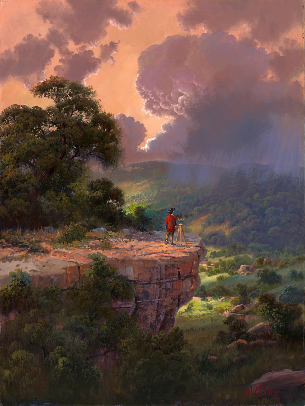George Washington surveys a wondrous natural scene in this painting, a previous work of Kay Walton's to which Washington was added.