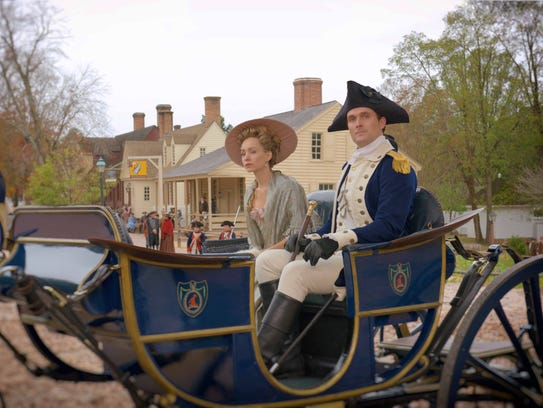 Ksenia Solo, left, plays Peggy Shippen and Owain Yeoman