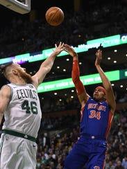 Pistons forward Tobias Harris (34) shoots the ball