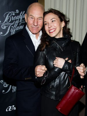 Patrick Stewart and Sunny Ozell attend the Broadway opening of 'Breakfast at Tiffany's' on  March 20, 2013, in New York.