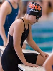 Northville's Sophia Tuinman gets ready to get up into