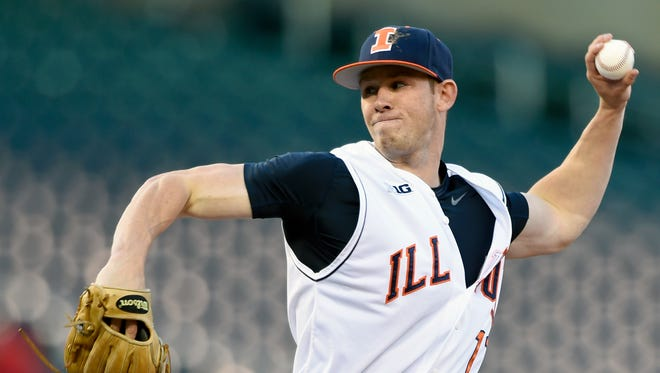 Illinois closer Tyler Jay (11) delivers against Nebraska during the ninth inning of a first-round NCAA Big Ten tournament college baseball game Wednesday, May 20, 2015, in Minneapolis. Illinois won 3-2.