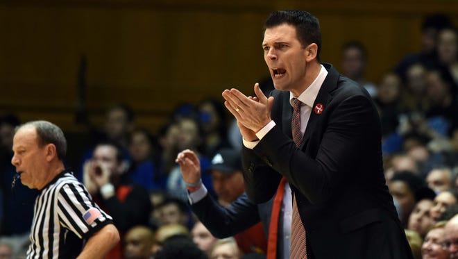 Feb 21, 2018; Durham, NC, USA; Louisville Cardinals Interim Head Coach David Padgett encourages his team during the first half at  against the Duke Blue Devils Cameron Indoor Stadium. Mandatory Credit: Rob Kinnan-USA TODAY Sports