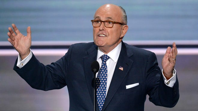Former New York City Mayor Rudy Giuliani addresses delegates on the first day of the Republican National Convention in Cleveland, Ohio, on July 18, 2016.