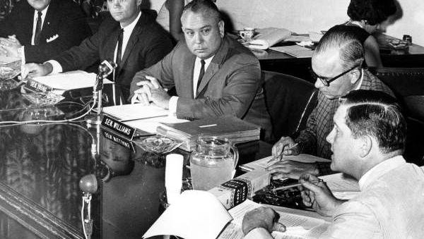 A public hearing of the Legislative Investigations Committee, popularly known as the Johns Committee, on July 31, 1964. Senator Charley Johns is in the upper left corner of the photo.