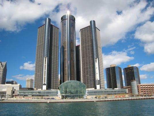 GM detroit skyline