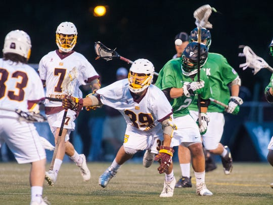 Salisbury face off Brooks Eibner (39) takes a draw against York College in the regular season Capital Athletic Conference finale on Wednesday at Sea Gull Stadium.