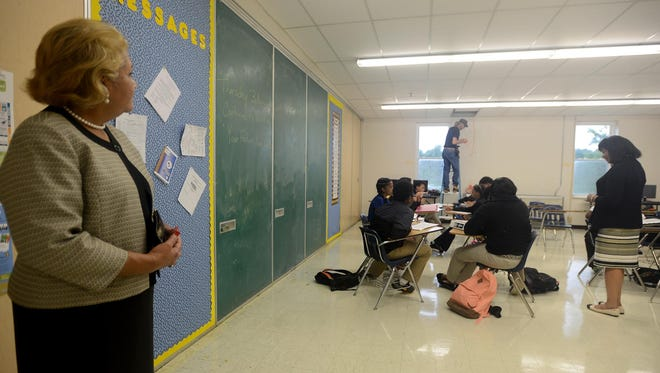 Jackson-Madison County Schools Superintendent Verna Ruffin observes one of the Early College High School classes on Thursday.