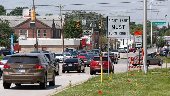 Traffic passes through the intersection of South Street and Sagamore Parkway Wednesday, July 12, 2017, in Lafayette.