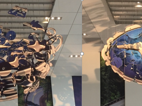 A mobile in the lobby of Subaru's new headquarters looks like a jumble from most angles, but transforms into the company's logo when seen from the right spot.