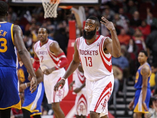 James Harden's 34 leads Rockets to rout of Warriors
