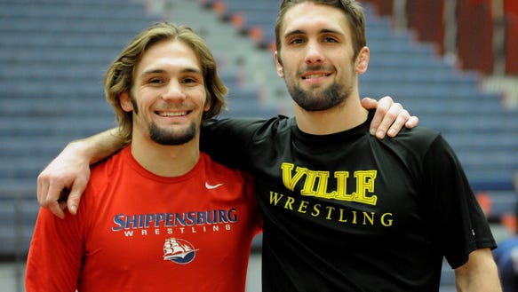 Kyle Narber, right, is a redshirt junior for Millersville, while Ryan Narber, left, is a sophomore at Shippensburg. The two brothers from West York High School squared in a college match on Tuesday, with Kyle Narber beating his younger brother, 6-1. PHOTO COURTESY OF SHIPPENSBURG UNIVERSITY