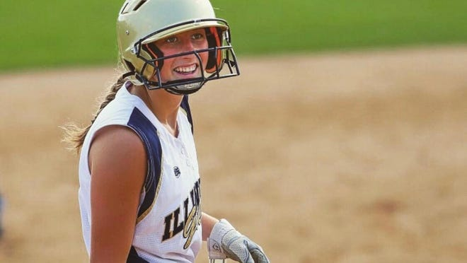 Bailey Becker smiles after a hit while playing softball for Illinois Gold. Becker was expected to be one of the standouts on this spring season's North Boone softball squad.