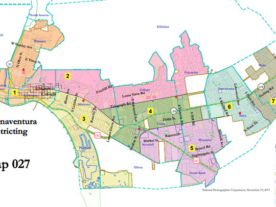 One of 33 maps proposed by residents for Ventura City