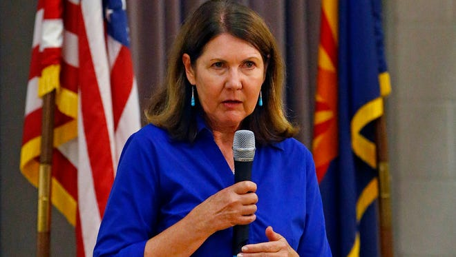 U.S. Rep. Ann Kirkpatrick, who is the 2016 Democratic nominee for the U.S. Senate, speaks at Superior High School on Aug. 20, 2013.