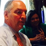 Edwards answers questions in his Capitol office Friday.