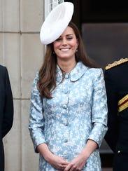 Duchess Kate of Cambridge sported a light blue coatdress