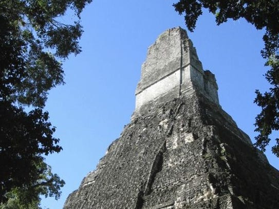 A temple in the ruins of Tikal, Guatemala, an area