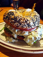 The egg salad  with lettuce and tomato on a bagel ($3.99).