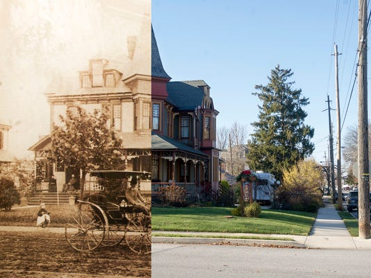 Picturing History: The Lady Linden 2014/around 1890 , a 1887 Queen Anne house in York from an early photo on the wall of the house, Sunday November 30, 2014.  Paul Kuehnel - Daily Record/Sunday News