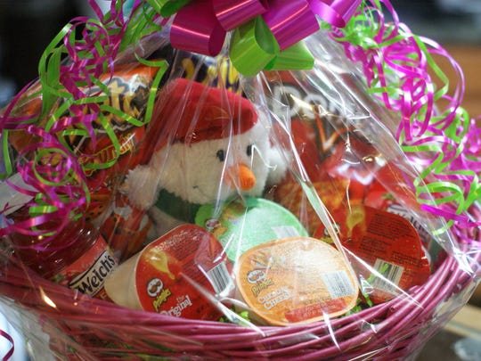 One of many gift basket arrangements available at the Heart's Desire Flower and Gift Shop in Deming.