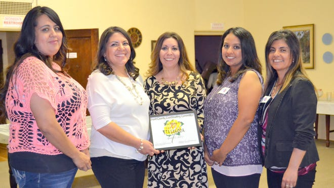 From left, are Chapter of the Year members Brenda Arellano, Monica Teran, Yvette Gonzales, Jocelyn Arellano, and Bertha Gavaldon. Not pictured are Valerie Morales, Kelsey Washington, and Kandice Barraza.