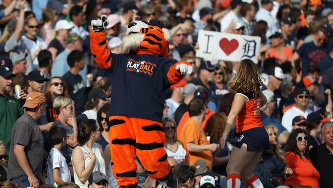 Detroit Tigers mascot PAWS entertains fans during the seventh-inning stretch during the 10-1 win over the White Sox on June 3, 2017 at Comerica Park.