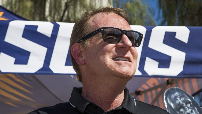 Phoenix Suns owner Robert Sarver announces that Phoenix Suns Charities is donating $1 million to renovate 50 neighborhood basketball courts in Arizona in honor of the 50th anniversary of the NBA franchise.  The announcement was made Wednesday, September 20, 2017 at Neighborhood Ministries in Phoenix.