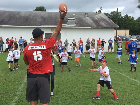 Dallas Cowboys quarterback Dak Prescott held a football