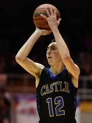 Castle's Alex Hemenway takes a jumper as Castle plays
