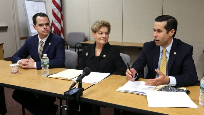 State Sen. David Carlucci, left, Assemblywoman Ellen Jaffee and Assemblyman Ken Zebrowski during a meeting with the Journal News editorial Board at Rockland BOCES in West Nyack July 5, 2016.