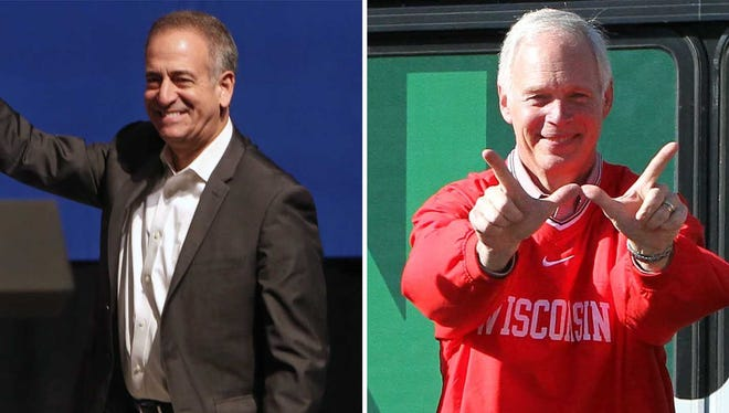 Democrat Russ Feingold (left) and Republican Sen. Ron Johnson hit the campaign trail in the final weekend before the election.