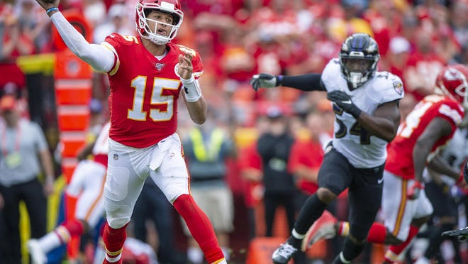 Kansas City Chiefs quarterback Patrick Mahomes throws a pass during the second quarter against the Baltimore Ravens in September 2019, at Arrowhead Stadium in Kansas City, Mo.