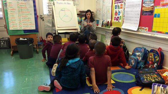 Students in the Spanish portion of a dual-language