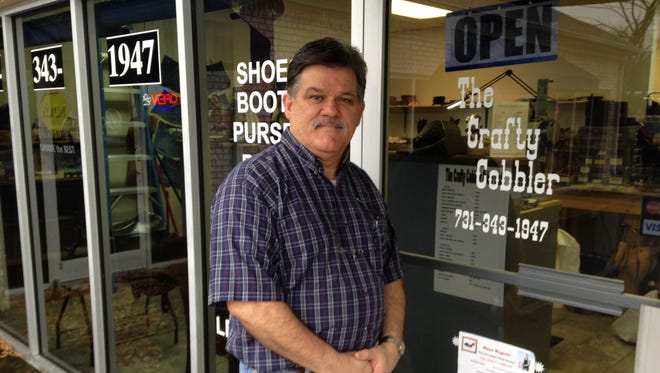 Ken Oldham repairs leather products including shoes, boots and purses at The Crafty Cobbler, 208 Cheyenne Drive Suite E..