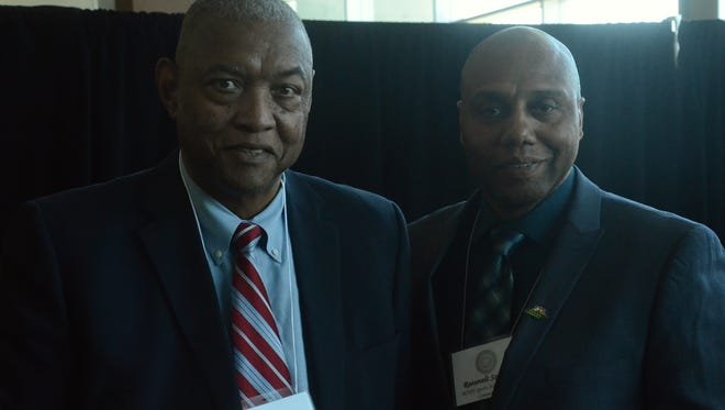 Former Pearl basketball star Les Hunter (left) was inducted to the MNPS Sports Hall of Fame on Tuesday at Nissan Stadium.