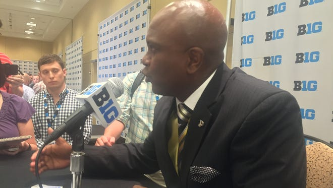 Purdue football coach Darrell Hazell talks with reporters at Big Ten Media Day in Chicago on July 25, 2016.