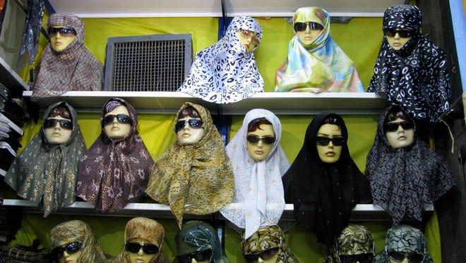 Hijab (headscarf) fashion on display in Mashad, northeastern Iran.