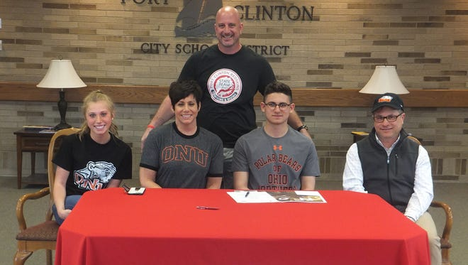 Port Clinton senior Jack Kessler will continue his swimming career at Ohio Northern. He is joined at his announcement by Elena Kessler, Mary Kessler and Slate Kessler. Redskins coach Dan Diaz is standing.
