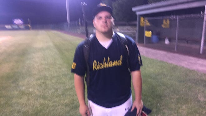 Travis Weaver struck out 9 on the mound and drove in 3 runs at the plate to lift Richland past Fredericksburg 12-3 on Saturday night.