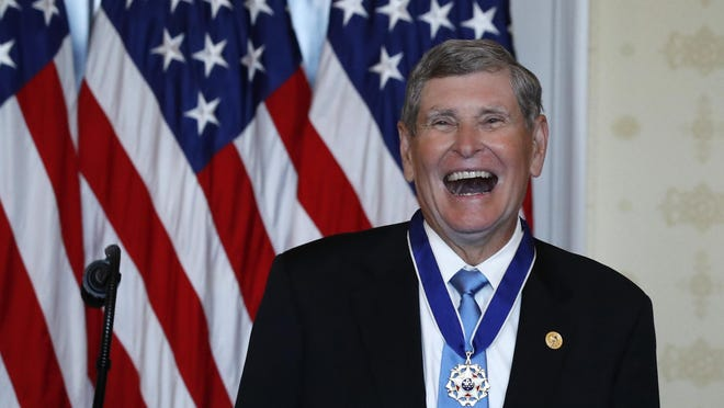 Jim Ryun reacts after President Donald Trump on Friday presented him the Presidential Medal of Freedom in the Blue Room of the White House in Washington.
