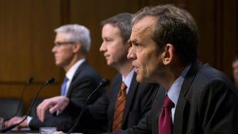 Lawyers from Google, Facebook and Twitter testifying before the Senate Intelligence Committee on Nov. 1, 2017.