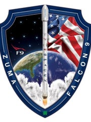 Official SpaceX patch for the U.S. government's Zuma mission targeting an 8 p.m. Thursday launch from Kennedy Space Center aboard a Falcon 9 rocket.